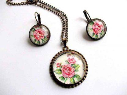 Set trandafiri rosii, bijuterii set colier, pandantiv si cercei 32680