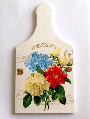 Tablou cu flori rosii, albastre si galbene, tablou lemn 32487