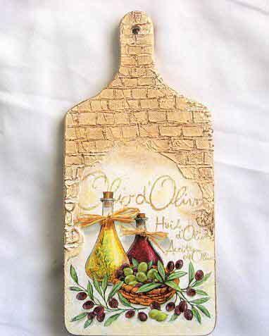 Tablou cu sticle cu ulei de masline si masline, tablou lemn bucatarie 29826