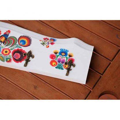 Cuier motiv traditional, flori stilizate si cocosi, cuier haine 5 agatatori 8242 zoom 4