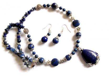set colier cu pandantiv si cercei cu lapis lazuli, set bijuterie femei 32868