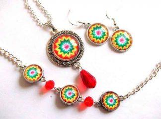 Bijuterii mandala floare stilizata, set bijuterie cu cristale rosii 33010