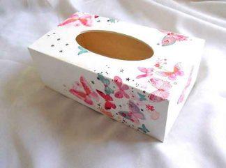 Cutie cu design de fluturi, stelute si floricele, cutie lemn servetele 32963