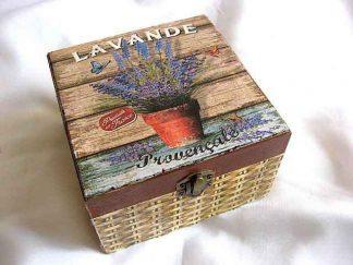 Cutie cu flori de levantica gen cos impletit, cutie lemn 26359