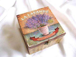Cutie gen cos impletit patrat cu flori de lavanda, cutie lemn 26356