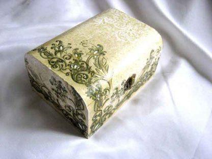 Cutie gen cufar cu elemente decorative galben cu negru, cutie lemn 26662 poza a 2a