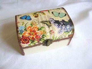 Cutie gen cufar cu model floral si fluturi, cutie de lemn 26803