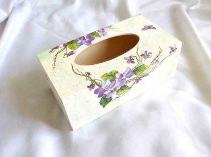 Cutie servetele design fluture si flori mov, cutie lemn servetele 32959