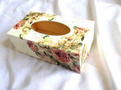 Design trandafiri galbeni si roz cutie lemn, cutie servetele hartie 32960