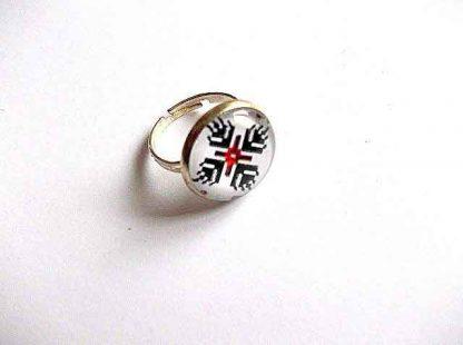 Inel femei cu motiv traditional, inel reglabil metal si sticla 32907