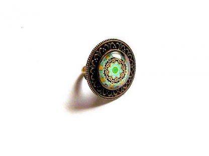 Inel mandala cercuri concentrice verde, galben si negru, inel reglabil 32927
