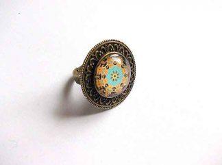 Inel mandala verde, portocaliu si negru, inel reglabil bronz si sticla 32929