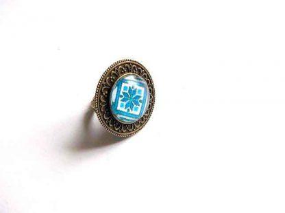 Inel pe bleu, motiv traditional romanesc bleu, inel reglabil femei 32926