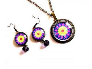 Mandala floare stilizata culori albastru, mov, blue, galben si rosu, set mandala 33006