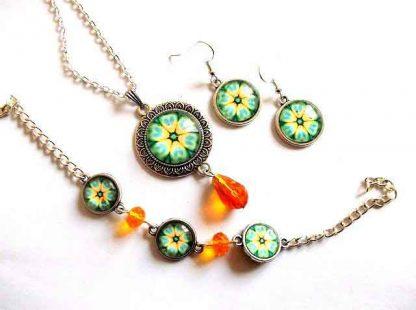 Mandala floare stilizata galben si verde, set bijuterii femei 33009