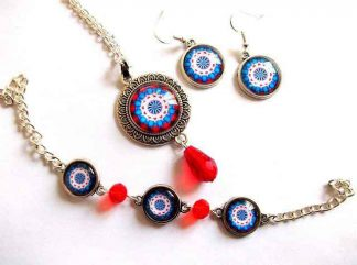 Model mandala rosu si albastru, set bijuterii femei cu mandala 33011