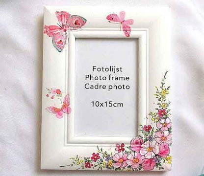 Rama cu flori roz si galbene si fluturi roz, rama foto lemn 32957