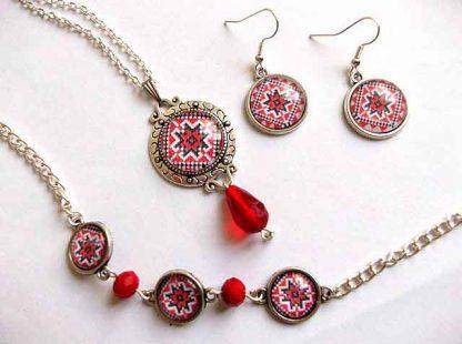 Set bratara, cercei, colier cu pandantiv cu motiv traditional, set bijuterii 32947