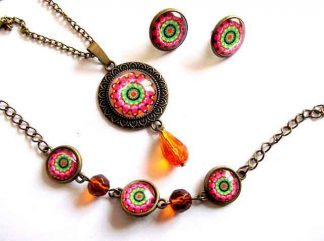 Set bronz, sticla si cristale portocalii, set mandala 33013
