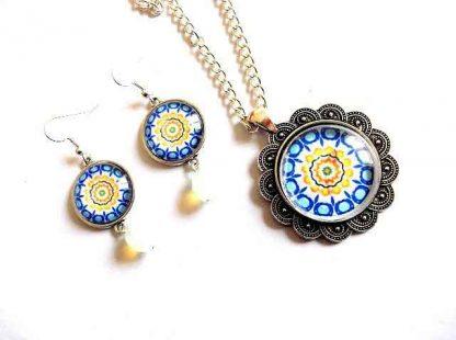 Set cercei si pandantiv cu mandala, cadou bijuterii femei 33008