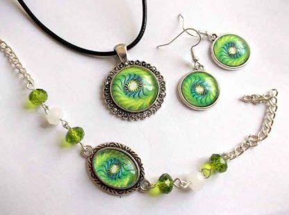 Set mandala spirala galben cu verde, set bratara, cercei si pandantiv 32953