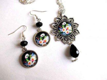 Set metal, sticla si cristale fatetate, set bijuterii model floral 32943