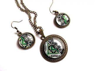 Set motive traditionale culori verde, galben si negru, set bijuterii 32904