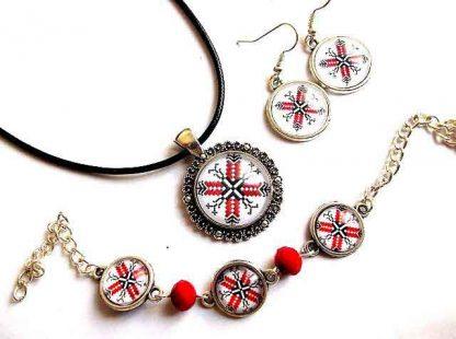 Set motive traditionale dobrogene, set bijuterii cercei, bratara si pandantiv 32948