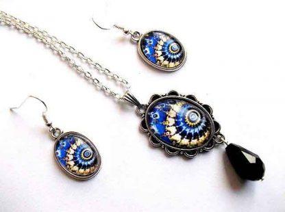 Bijuterii design scoici stilizate albastru si galben, set pandantiv si cercei 33171