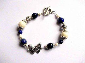 Bratara metal si pietre semipretioase lapis lazuli si coral alb, bratara femei 32739