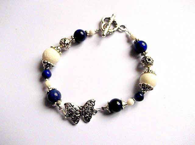 ceas super ieftin verifică Bratara metal si pietre semipretioase lapis lazuli si coral alb ...