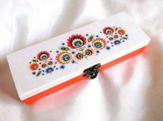 Cutie cu flori stilizate, cutie de lemn cu motiv traditional 33176
