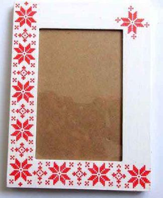 Rama cu flori stilizate, motiv traditional pe rosu, rama foto 33027