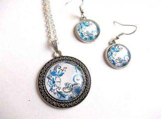 Set bijuterii pandantiv cu cercei, set cadou femei cu flori stilizate 32945