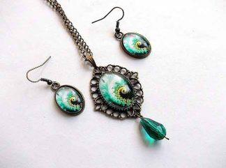 Set bijuterii design abstract verde, galben si negru, set pandantiv si cercei 33165