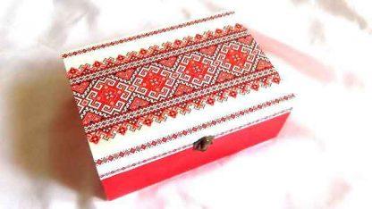 Cutie cu motiv traditional si sertare, cutie din lemn cu despartitoare 32264