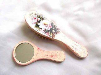 Set oglinda si perie par femei, set cu trandafiri roz 33120
