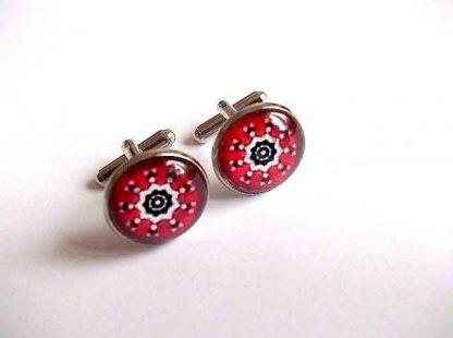 Bijuterie cadou barbati, butoni model ornamental rosu, alb si negru, butoni camasa 33390