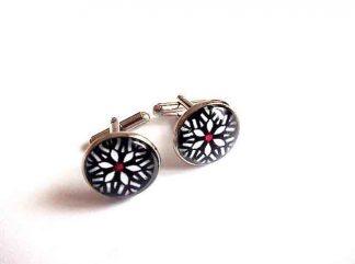 Butoni camasa cu model de floare stilizata, butoni camasa barbati 33387