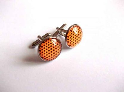 Butoni cu portocaliu si buline negre, butoni camasa barbati 33370
