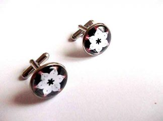 Butoni motiv floral stilizat pe fundal negru, butoni camasa barbati 33407