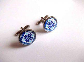 Butoni motiv traditional albastru si bleu, butoni camasa barbati 33403