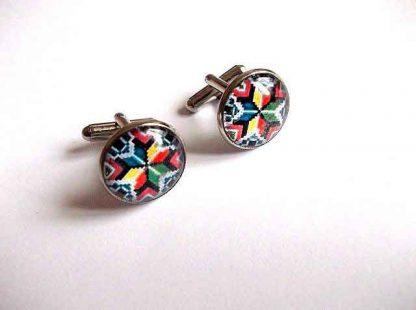 Butoni motiv traditional culori multicolore, butoni camasa barbati 33410