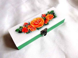 Cutie cu buchet de trandafiri portocalii, cadou cutie de lemn 33223