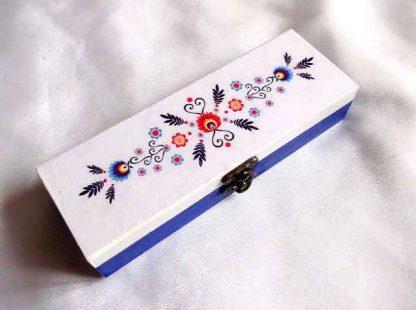 Cutie motiv floral traditional, flori stilizate, cutie cadou femei 33228