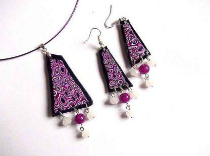 Cercei fimo model abstract culorile negru, violet si alb, bijuterii fimo 33269