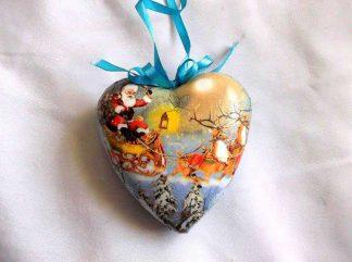 Decoratiune Mos Craciun cu reni brad Craciun, decoratiune sub forma de inima 33416