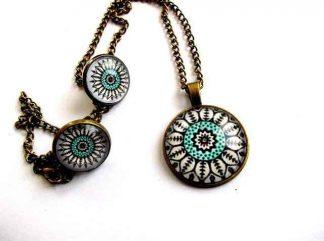Elemente decorative verde si negru mandala, bijuterie sticla si bronz 33451