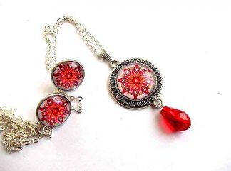 Mandala elemente decorative rosii, portocalii si verzi, set bijuterii 33452.