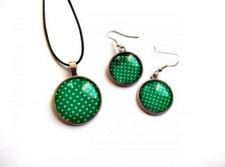 Set colier si cercei cu sticla, culoare verde 33630